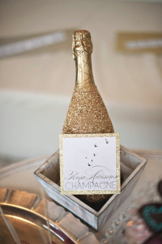 Decorate a Champagne Bottle - 28 Fun and Easy DIY New Year's Eve Party Ideas