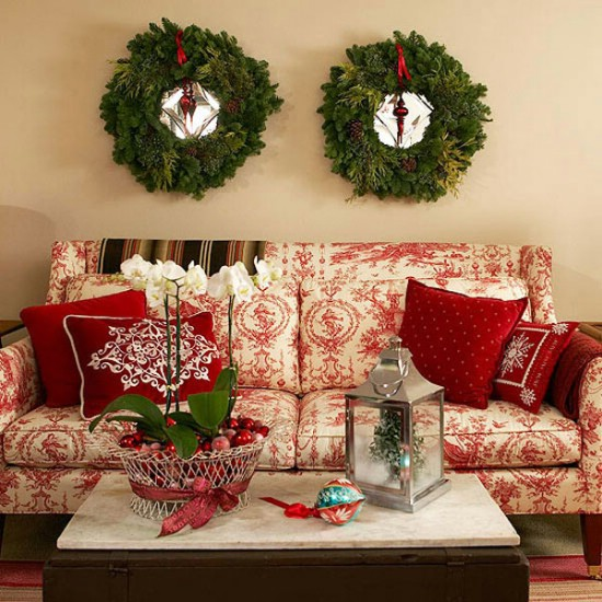 Hang Wreaths - 30 Stunning Ways to Decorate Your Living Room This Christmas