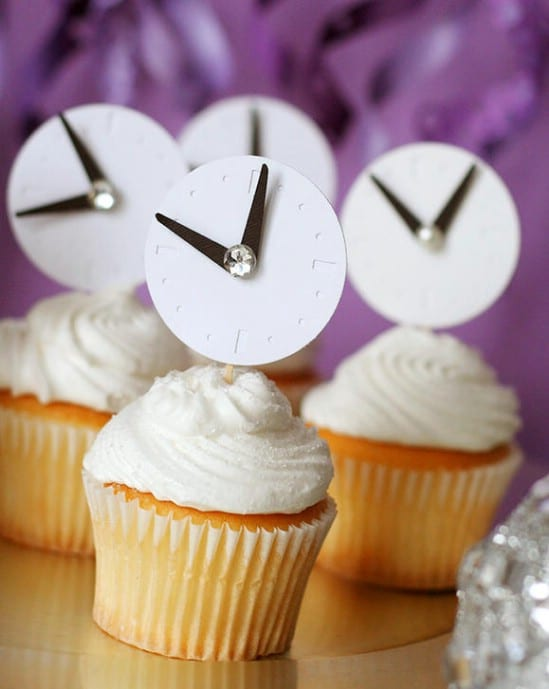 Clock Cupcake Toppers - 28 Fun and Easy DIY New Year's Eve Party Ideas