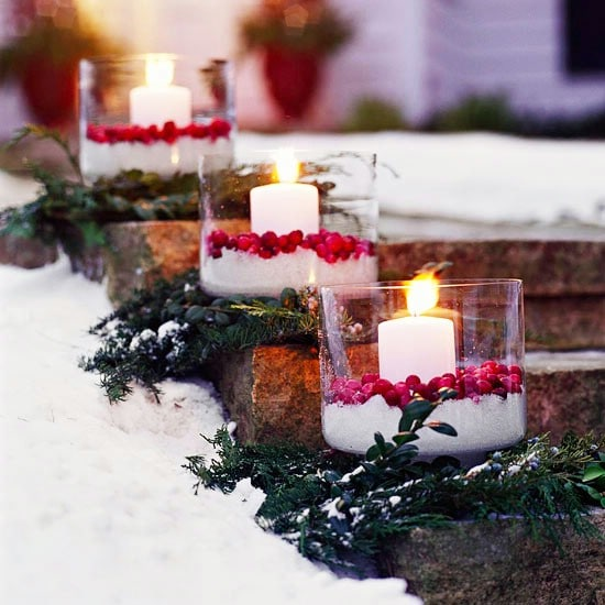 Cranberry Luminaries - 60 Beautifully Festive Ways to Decorate Your Porch for Christmas