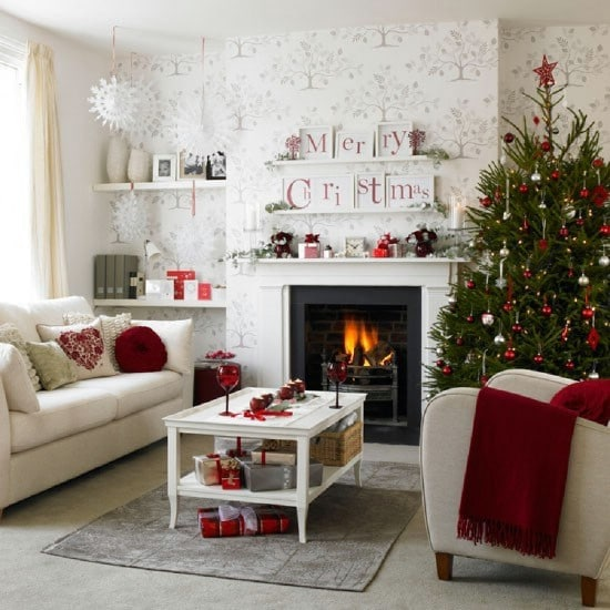 Bold Red - 30 Stunning Ways to Decorate Your Living Room This Christmas