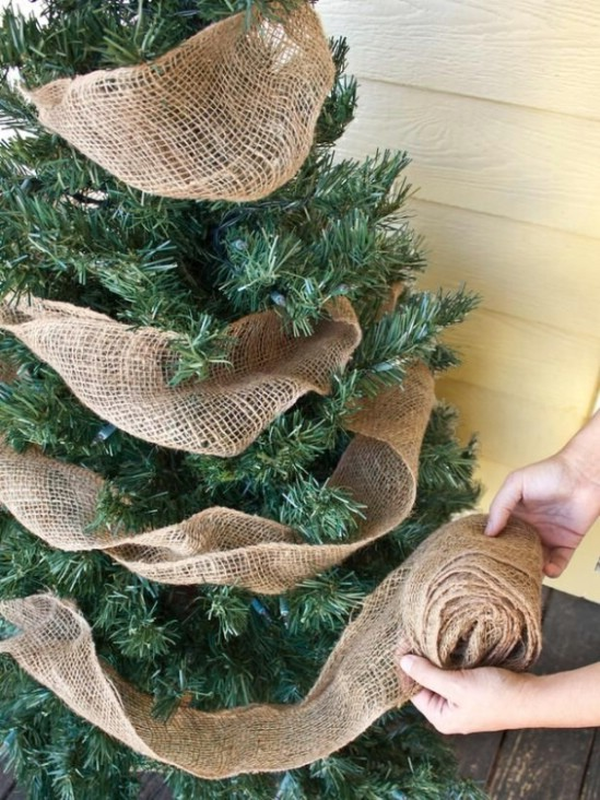 Burlap Garland - 60 Beautifully Festive Ways to Decorate Your Porch for Christmas