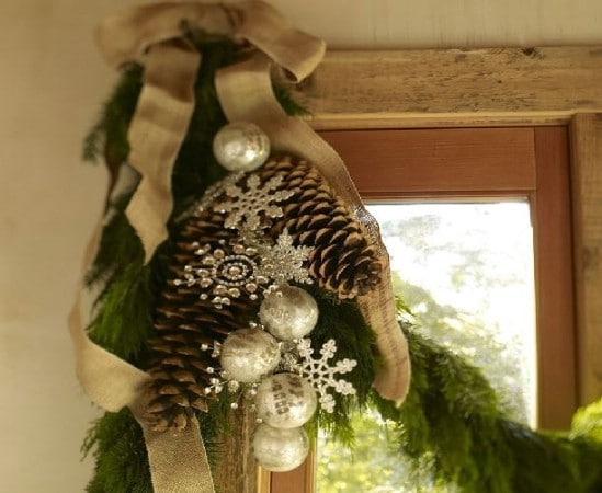 Pinecones and Snowflakes - 60 Beautifully Festive Ways to Decorate Your Porch for Christmas