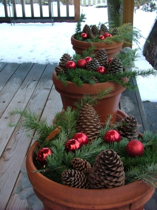 pinecone planters 60 beautifully festive ways to decorate your porch for christmas - Christmas Porch Decor