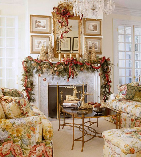 decorating living room for christmas. Pine Garland  30 Stunning Ways to Decorate Your Living Room This Christmas For DIY