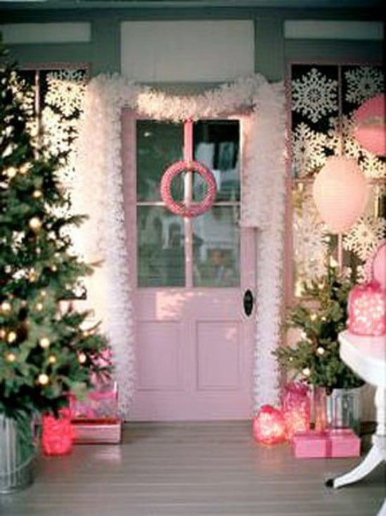 Go Pink! - 60 Beautifully Festive Ways to Decorate Your Porch for Christmas