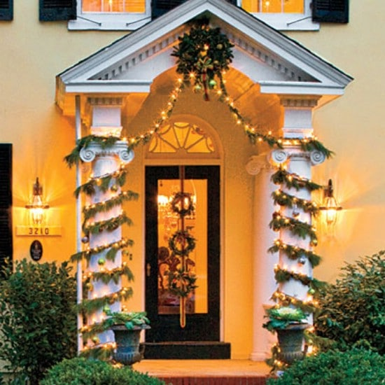 Wrapped Columns - 60 Beautifully Festive Ways to Decorate Your Porch for Christmas