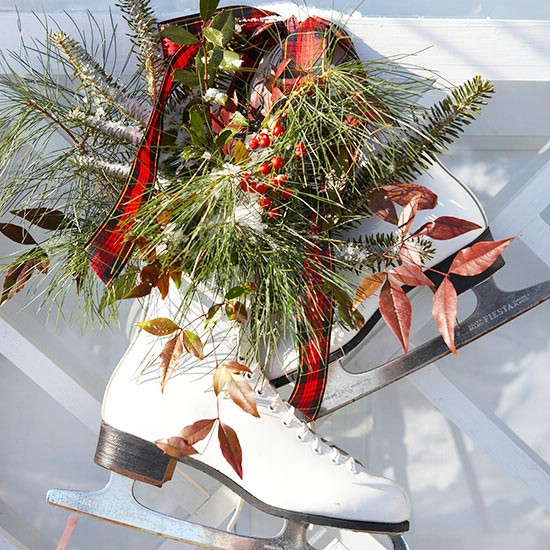 Ice Skates - 60 Beautifully Festive Ways to Decorate Your Porch for Christmas