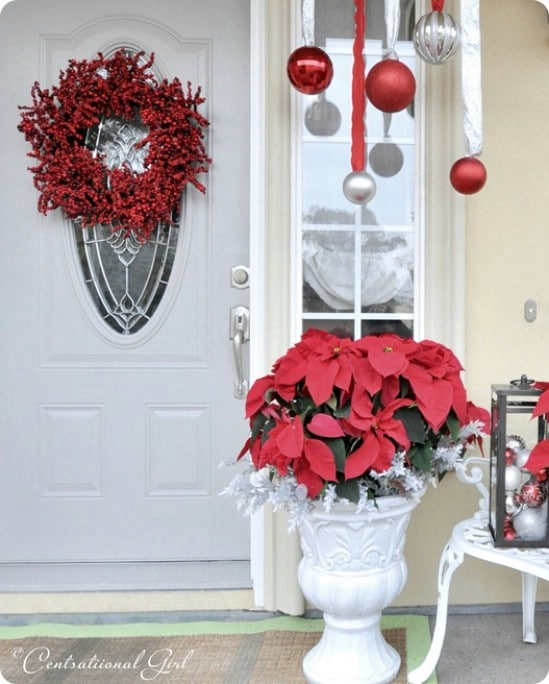 source centsationalgirl poinsettias 60 beautifully festive ways to decorate your porch for christmas - How To Decorate Front Porch For Christmas