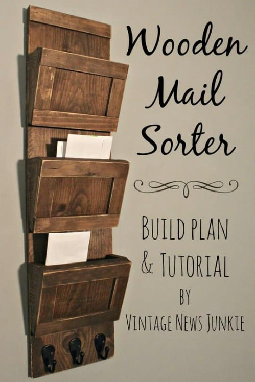 Wooden Mail Sorter   40 Rustic Home Decor Ideas You Can Build Yourself