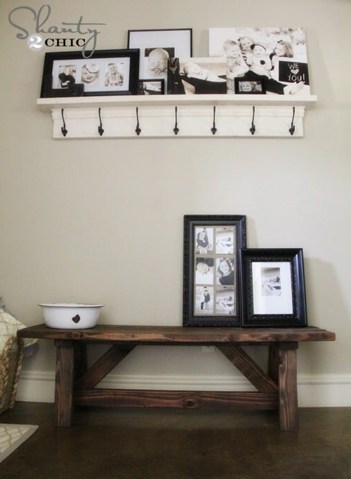 Charming Bench Decorating Ideas Part - 5: Rustic Entryway Bench - 40 Rustic Home Decor Ideas You Can Build Yourself