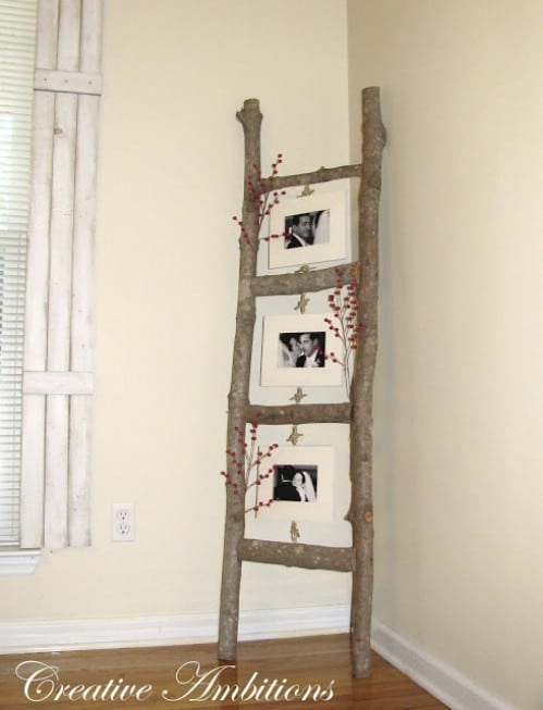 Rustic Photo Ladder   40 Rustic Home Decor Ideas You Can Build Yourself