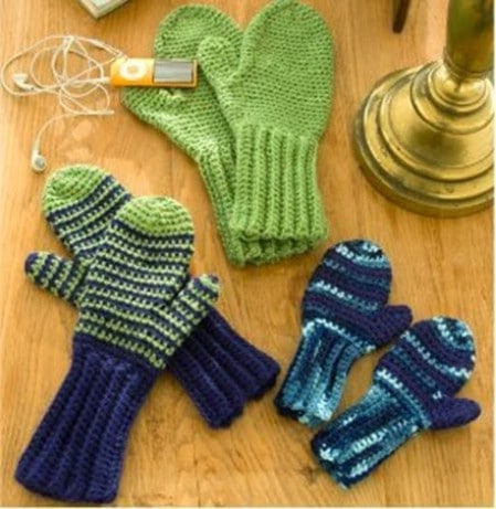 Beginner Crocheted Mittens - 30 Super Easy Knitting and Crochet Patterns for Beginners