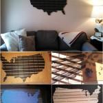 Beautiful DIY Wooden USA Wall Map