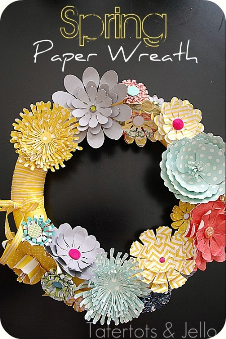 Spring Paper Wreath - 40 Creative DIY Easter Wreath Ideas to Beautify Your Home