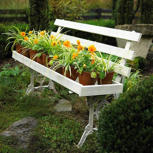 Garden Bench Planters - 40 Genius Space-Savvy Small Garden Ideas and Solutions