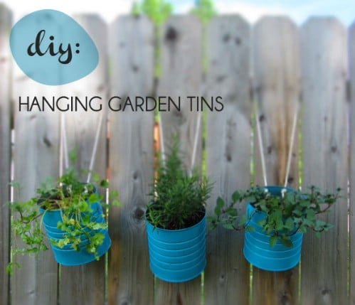 Hanging Tin Can Garden - 40 Genius Space-Savvy Small Garden Ideas and Solutions
