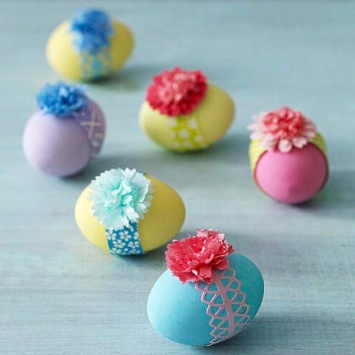 Ribbon Easter Eggs - 80 Creative and Fun Easter Egg Decorating and Craft Ideas
