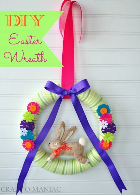 Yarn Covered Wreath - 40 Creative DIY Easter Wreath Ideas to Beautify Your Home