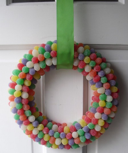 Gumdrops Wreath - 40 Creative DIY Easter Wreath Ideas to Beautify Your Home