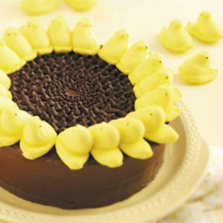 Marshmallow Peeps Sunflower Cake - 100 Easy and Delicious Easter Treats and Desserts