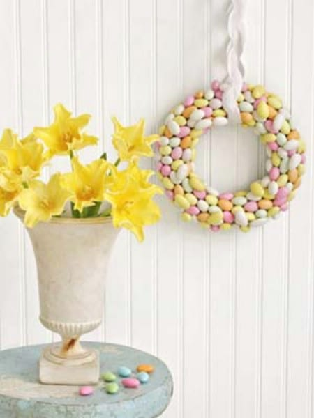 Jordan Almond Wreath - 40 Creative DIY Easter Wreath Ideas to Beautify Your Home