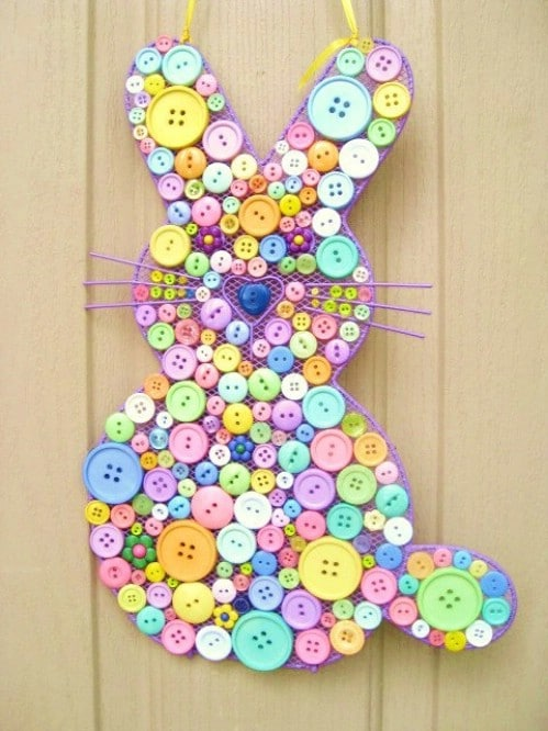 Button Bunny - 80 Fabulous Easter Decorations You Can Make Yourself