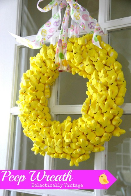 Marshmallow Peeps Wreath - 40 Creative DIY Easter Wreath Ideas to Beautify Your Home