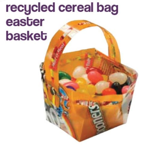 Recycled Cereal Bag Easter Baskets