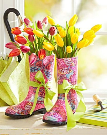 Colorful Boots Centerpiece - 40 Beautiful DIY Easter Centerpieces to Dress Up Your Dinner Table