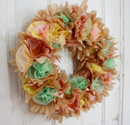 Cupcake Liner Wreath - 40 Creative DIY Easter Wreath Ideas to Beautify Your Home