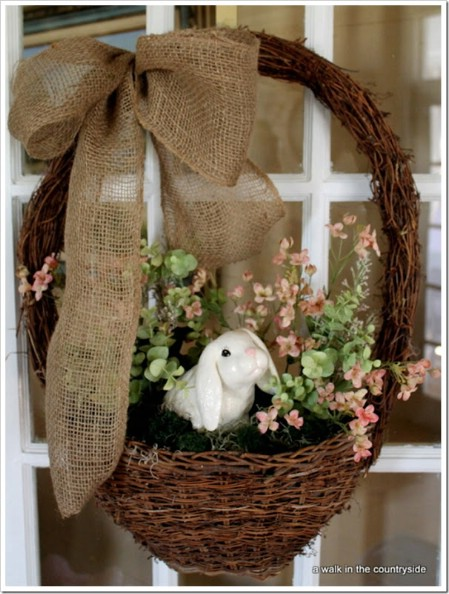 Bunny Basket Wreath - 40 Creative DIY Easter Wreath Ideas to Beautify Your Home
