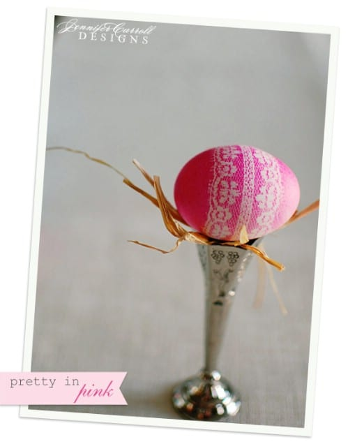 Lace Covered Easter Eggs - 80 Creative and Fun Easter Egg Decorating and Craft Ideas