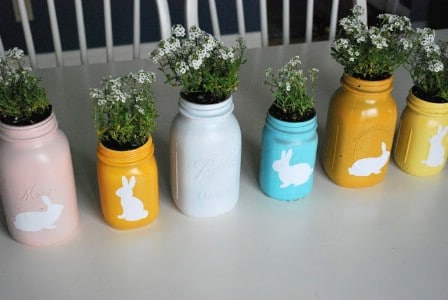 Easter Mason Jar Centerpiece - 40 Beautiful DIY Easter Centerpieces to Dress Up Your Dinner Table