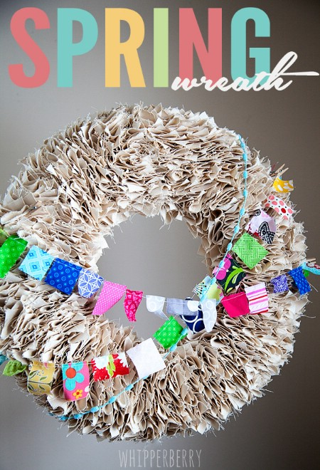 Fabric Garland Wreath - 40 Creative DIY Easter Wreath Ideas to Beautify Your Home