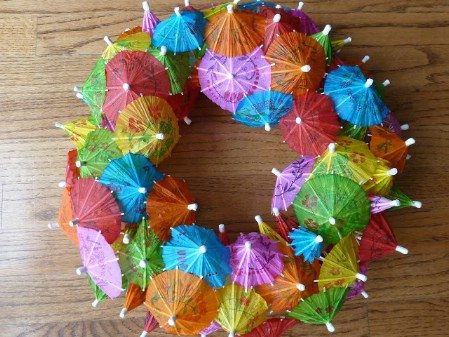 Cocktail Umbrella Wreath - 40 Creative DIY Easter Wreath Ideas to Beautify Your Home