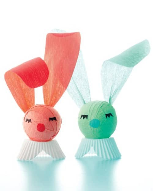Crepe Paper Bunnies - 80 Fabulous Easter Decorations You Can Make Yourself