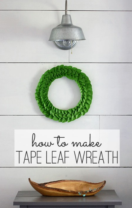 Tape Leaf Wreath - 40 Creative DIY Easter Wreath Ideas to Beautify Your Home