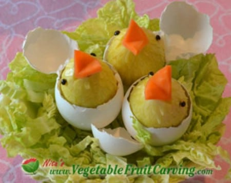 Cantaloupe Easter Bunny - 40 Beautiful DIY Easter Centerpieces to Dress Up Your Dinner Table