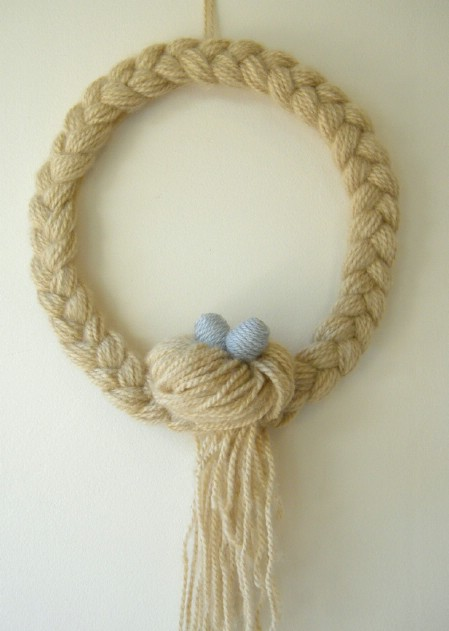 Braid and Bun Yarn Wreath - 40 Creative DIY Easter Wreath Ideas to Beautify Your Home