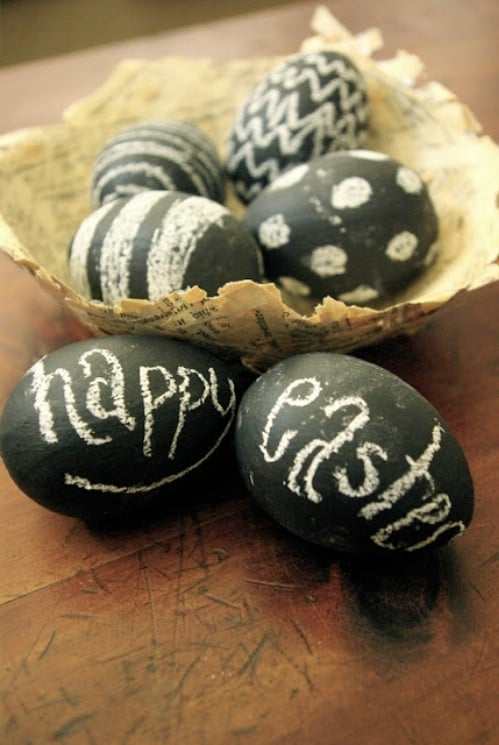 Chalkboard Easter Eggs - 80 Creative and Fun Easter Egg Decorating and Craft Ideas