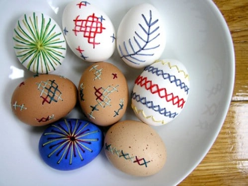 Embroidered Easter Eggs - 80 Creative and Fun Easter Egg Decorating and Craft Ideas