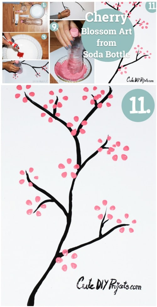 Cherry Blossom Art - 20 Fun and Creative Crafts with Plastic Soda Bottles