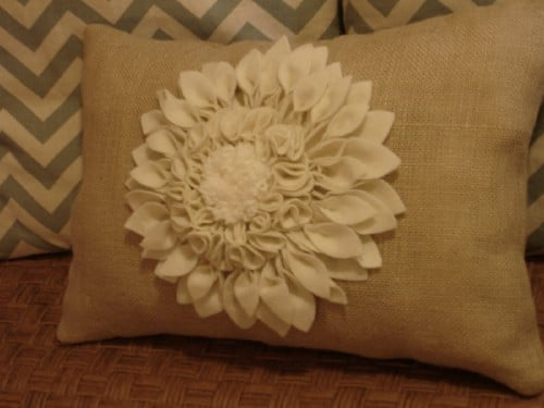 Felt Flower Burlap Pillow