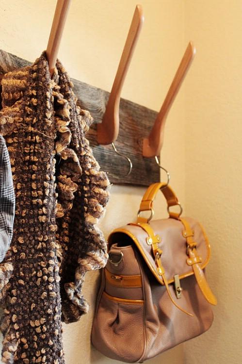 Old Wooden Hanger Hangers - 15 Unusual and Creative Repurposed Wall Hooks
