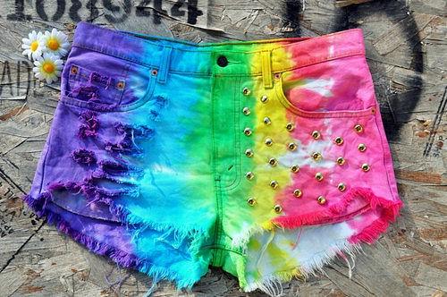 Rainbow Tie-Dye Shorts
