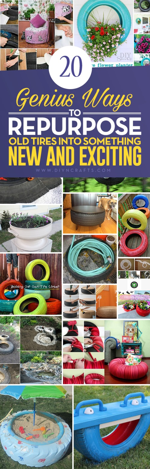 20 Genius Ways to Repurpose Old Tires Into Something New And Exciting - Collection curated and created by DIYnCrafts Team! <3