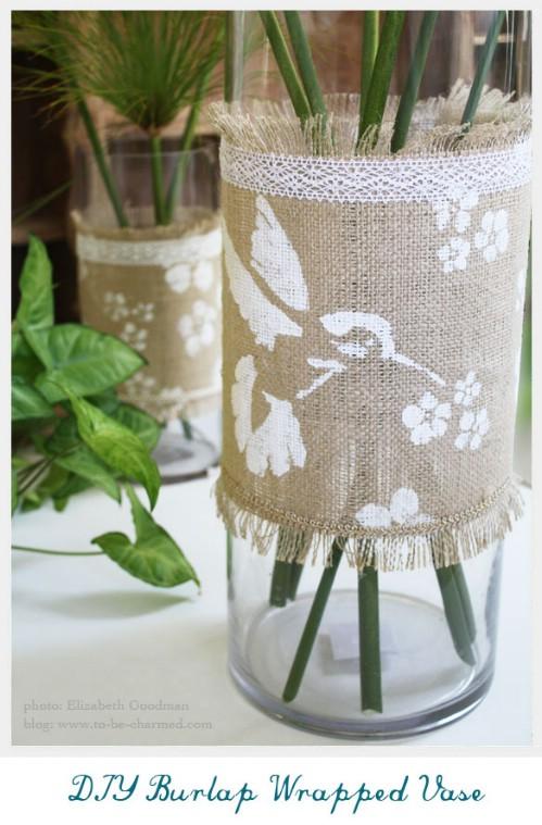 Burlap Wrapped Vase