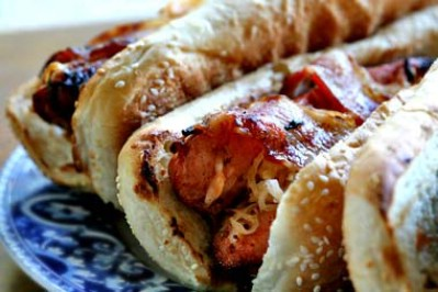 Grilled Bacon Wrapped Hot Dogs