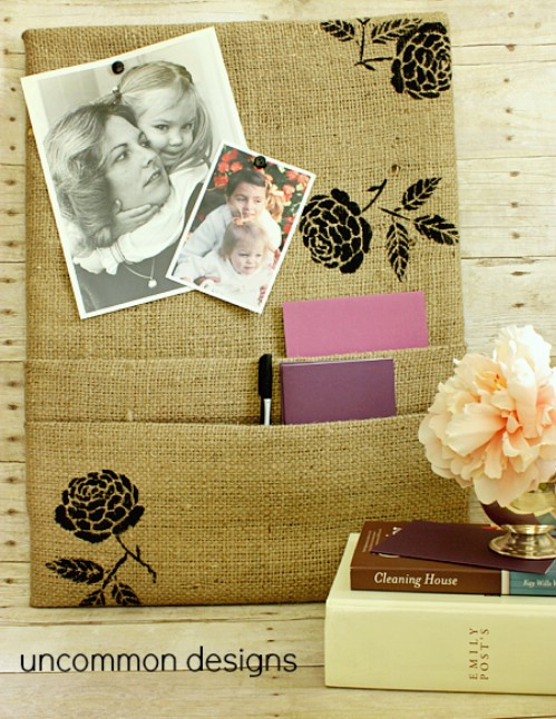 Pocketed Burlap Corkboard